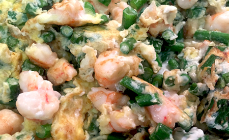 Egg Fu Young with Shrimps and Chinese Long Green Bean 豆角蝦炒蛋