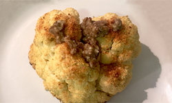 Roasted Cauliflower with Lemon Garlic Caper Anchovy Sauce